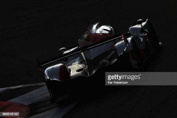 The Toyota Gazoo Racing TS050 Hybrid of Sebastien Buemi, Anthony Davidson and Kazuki Nakajima drives during practice for the FIA World Endurance...