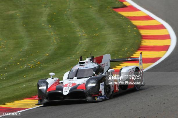 The Toyota Gazoo Racing TS050 Hybrid of Sebastien Buemi, Kazuki Nakajima and Fernando Alonso during practice for the WEC 6 Hour Race at...