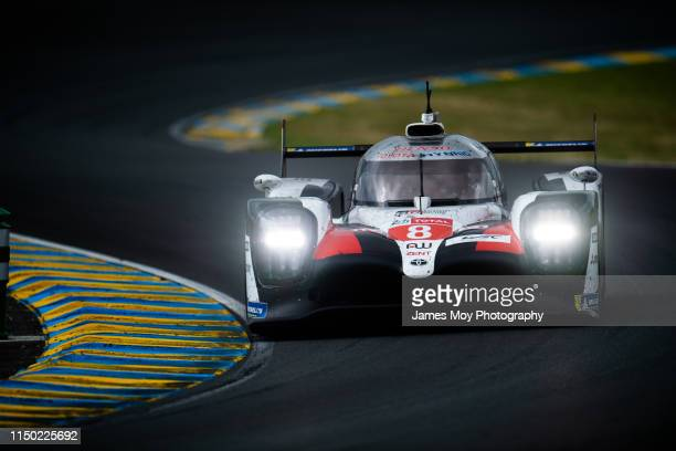 The Toyota Gazoo Racing TS050 Hybrid of Sebastien Buemi, Kazuki Nakajima and Fernando Alonso in action during the 24 Hours of Le Mans during the 24...