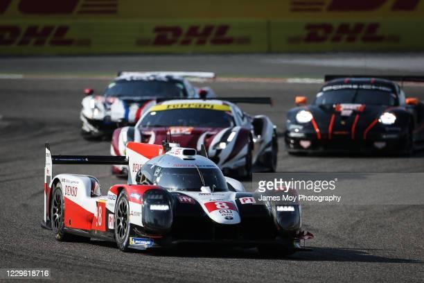 The Toyota Gazoo Racing TS050 Hybrid of Sebastien Buemi, Kazuki Nakajima, and Brendon Hartley in action at the WEC 8 Hours of Bahrain at Bahrain...