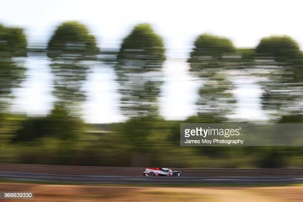 The Toyota Gazoo Racing TS050 Hybrid of Sebastien Buemi Kazuki Nakajima Fernando Alonso Jose Maria Lopez and Anthony Davidson drives during the Le...