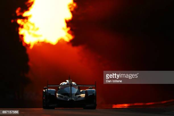 The Toyota Gazoo Racing TS050 of Mike Conway amui Kobayashi and Stephane Sarrazin drives during the Le Mans 24 Hour Race at Circuit de la Sarthe on...