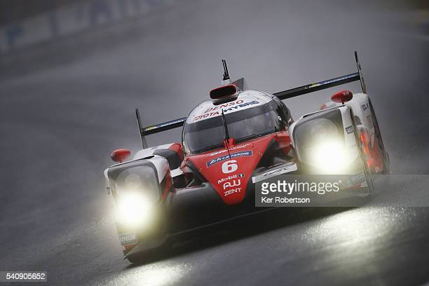 The Toyota Gazoo Racing TS050 of Mike Conway Kamui Kobayashi and Stephane Sarrazin drives during qualifying for the Le Mans 24 Hour race at the...