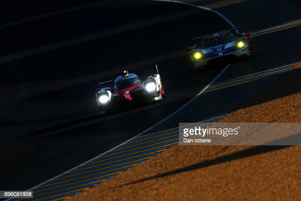 The Toyota Gazoo Racing TS050 of Yuji Kunimoto Nicolas Lapierre and Jose Maria Lopez drives during practice for the Le Mans 24 Hour Race at Circuit...