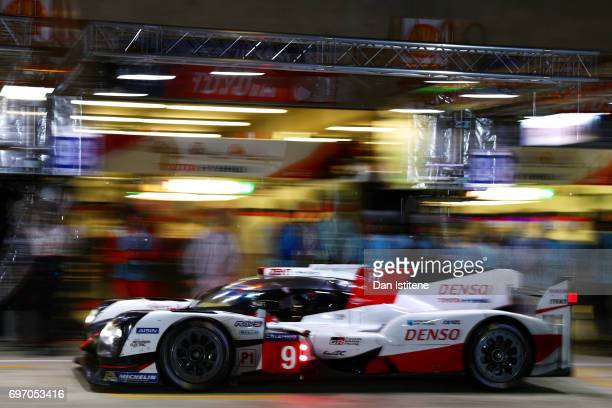 The Toyota Gazoo Racing TS050 of Yuji Kunimoto Nicolas Lapierre and Jose Maria Lopez returns to the garage for a pit stop during the Le Mans 24 Hour...