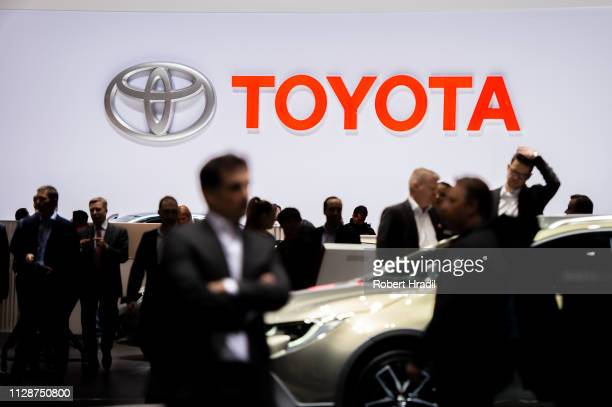 The Toyota logo is displayed during the first press day at the 89th Geneva International Motor Show on March 5, 2019 in Geneva, Switzerland.