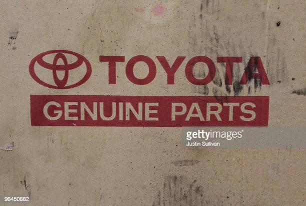 The Toyota logo is displayed on a box of auto parts at City Toyota February 5 2010 in Daly City California Toyota Motor Corp President Akio Toyoda...