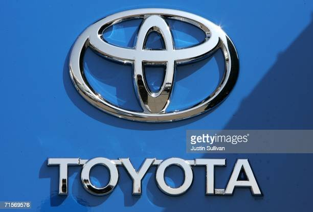 The Toyota logo is seen on a car at Freeman Toyota August 2 2006 in Santa Rosa California Toyota slipped past Ford Motor Company in July sales to...