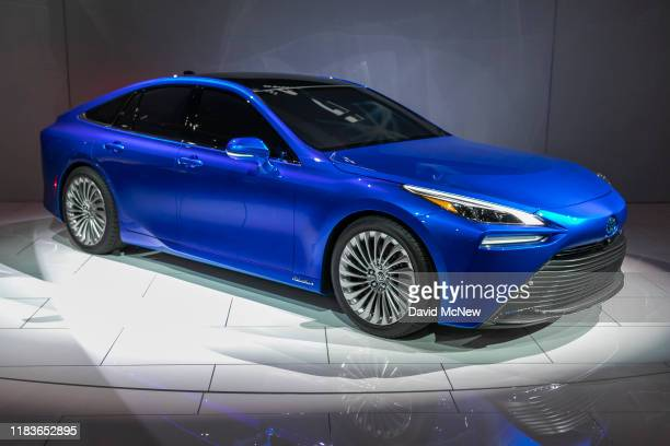 The Toyota Mirai Hydrogen fuel cell electric vehicle is shown at AutoMobility LA on November 20, 2019 in Los Angeles, California. The four-day press...