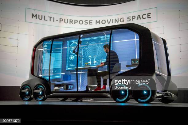 The Toyota Motor Corp ePalette concept vehicle is displayed during the company's press conference at the 2018 Consumer Electronics Show in Las Vegas...