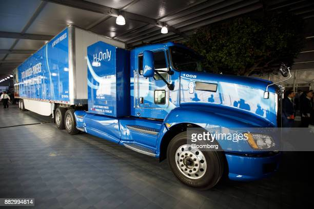 The Toyota Motor Corp hydrogen fuel cell powered semitruck is displayed during AutoMobility LA ahead of the Los Angeles Auto Show in Los Angeles...
