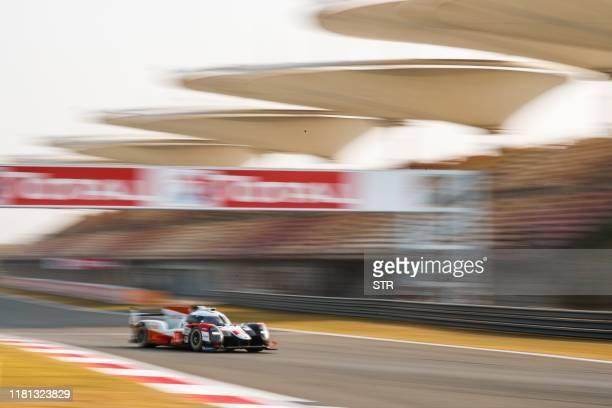 The Toyota of Sebastien Buemi of Switzerland, Kazuki Nakajima of Japan and Brendon Hartley of New Zealand take a corner during the FIA World...