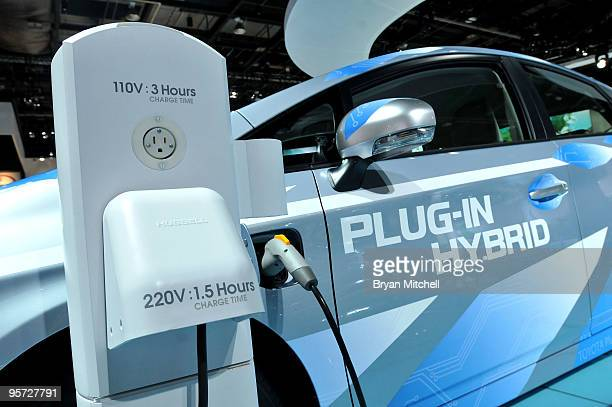 The Toyota Prius PlugIn Hybrid is displayed during the press preview for the world automotive media North American International Auto Show at the...