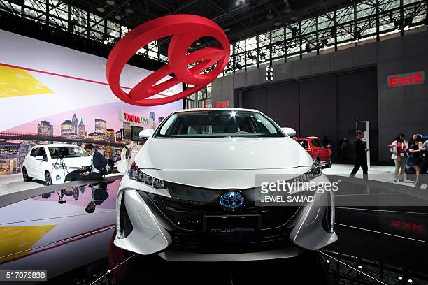 The Toyota Prius Prime is pictured during the New York International Auto Show on March 23 2016 / AFP / Jewel SAMAD
