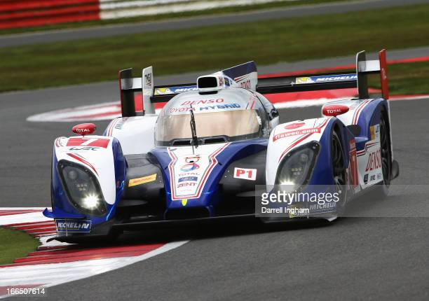 The Toyota Racing Toyota TS030 Hybrid driven by Alexander Wurz of Austria and Nicolas Lapierre of France during practice for the FIA World Endurance...