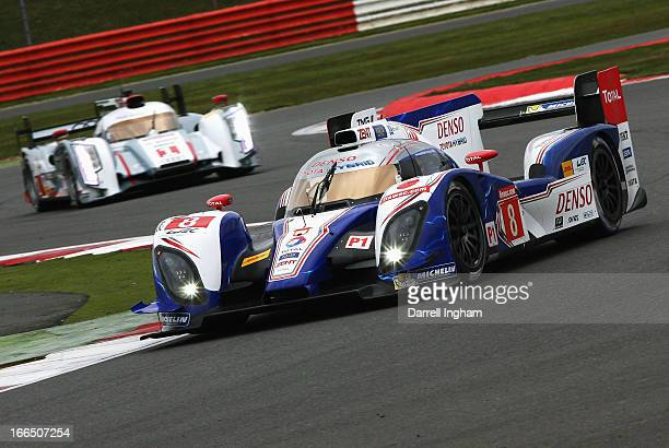 The Toyota Racing Toyota TS030 Hybrid driven by Anthony Davidson of Great Britain Sebastien Buemi of Switzerland and Stephane Sarrazin of France...
