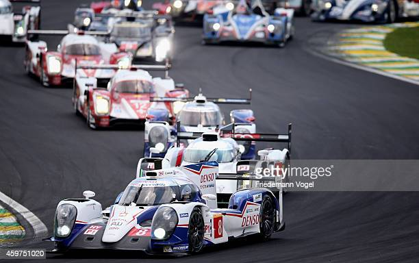 The Toyota Racing Toyota TS040 Hybrid LMP1 driven by Sebastien Buemi of Switzerland and Anthony Davidson of Great Britain during the FIA World...