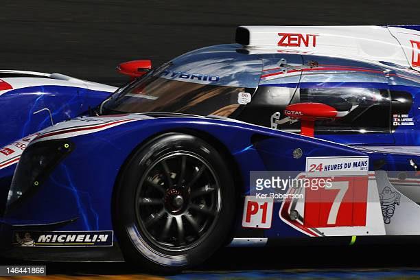 The Toyota Racing TS030 Hybrid of Alexander Wurz, Nicolas Lapierre and Kazuki Nakajima drives during the Le Mans 24 Hour race at the Circuit de la...
