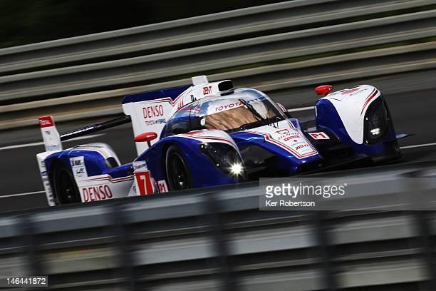 The Toyota Racing TS030 Hybrid of Alexander Wurz Nicolas Lapierre and Kazuki Nakajima drives during the Le Mans 24 Hour race at the Circuit de la...