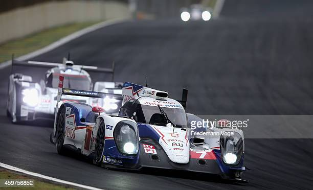 The Toyota Racing TS040 Hybrid LMP1 driven by Alexander Wurz of Austria, Stephane Sarrazin of France and Mike Conway of Great Britain during the FIA...