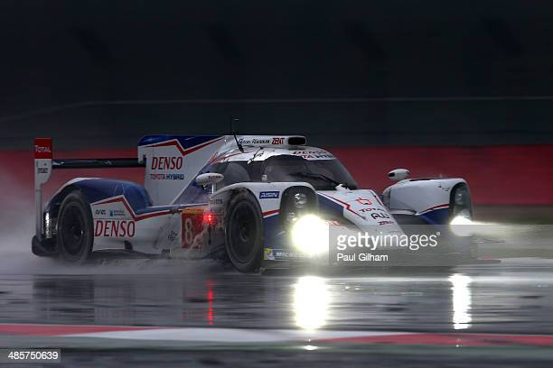 The Toyota Racing TS040 Hybrid LMP1 driven by Sebastien Buemi of Switzerland, Nicolas Lapierre of France and Anthony Davidson of Great Britain during...
