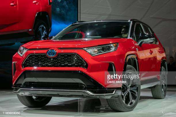 The Toyota RAV4 Hybrid is shown at AutoMobility LA on November 20, 2019 in Los Angeles, California. The four-day press and trade event precedes the...