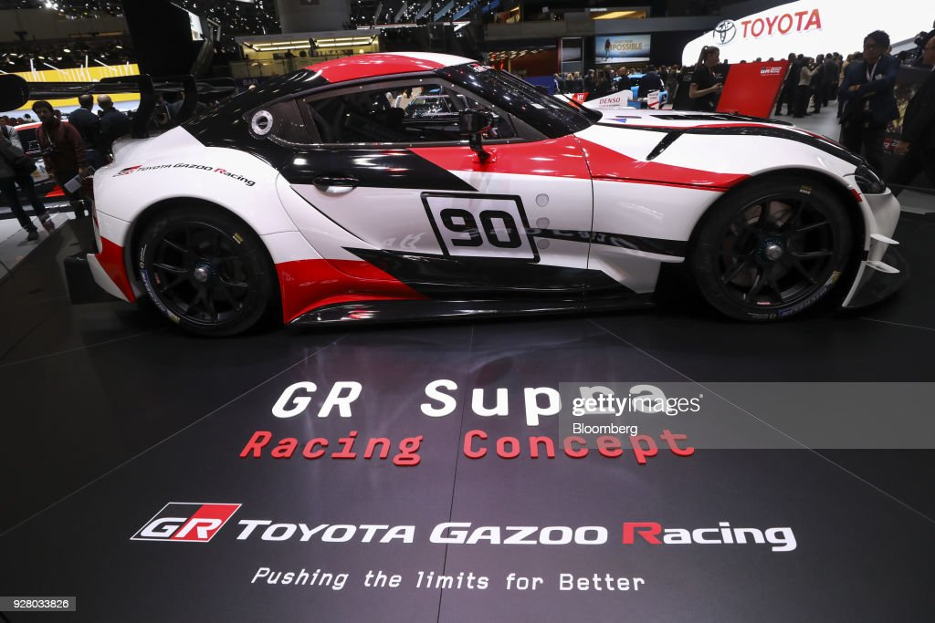 The Toyota Supra automobile sits on display on the Toyota Motor Corp. stand after its unveiling on the opening day of the 88th Geneva International Motor Show in Geneva, Switzerland, on Tuesday, March 6, 2018. The show opens to the public on March 8, and will showcase the latest models from the world's top automakers. Photographer: Chris Ratcliffe/Bloomberg via Getty Images