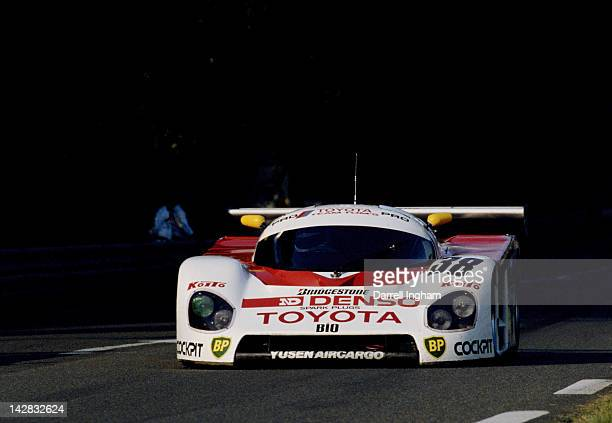 The Toyota Team Tom's Toyota 88C driven by Kaoru Hoshino Didier Artzet and Keiichi Suzuki during practice for the FIA World Sportscar Championship 24...