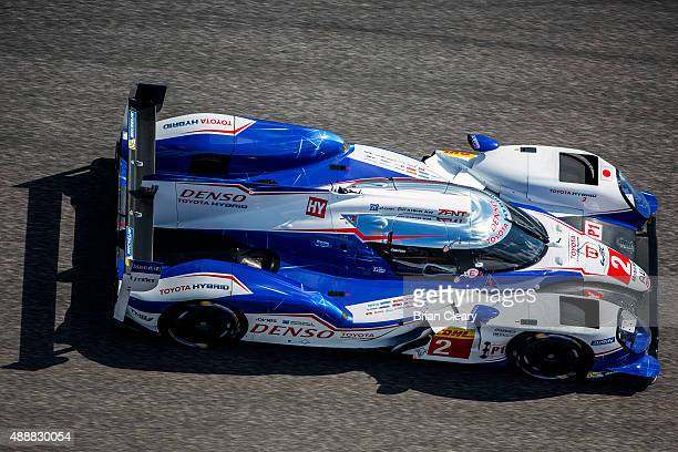 The Toyota TS040 - Hybrid of Alexander Wurz, Stephane Sarrazin, and Mike Conway is shown in action during practice for the FIA World Endurance...