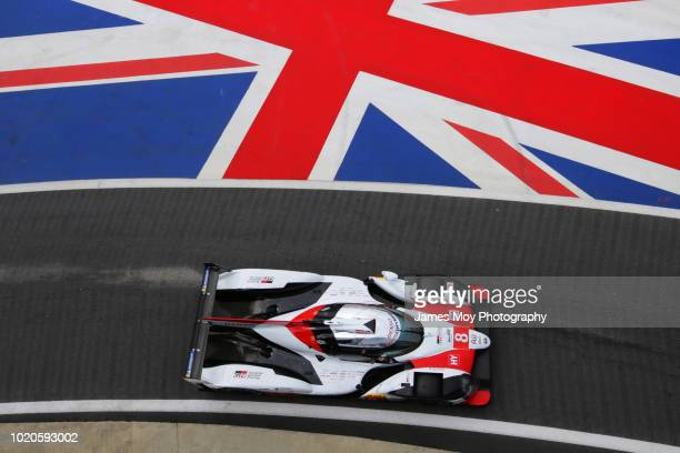 The Toyota TS050 driven by Fernando Alonso Sebastien Buemi and Kazuki Nakajima at Silverstone Circuit on August 16 2018 in Northampton England