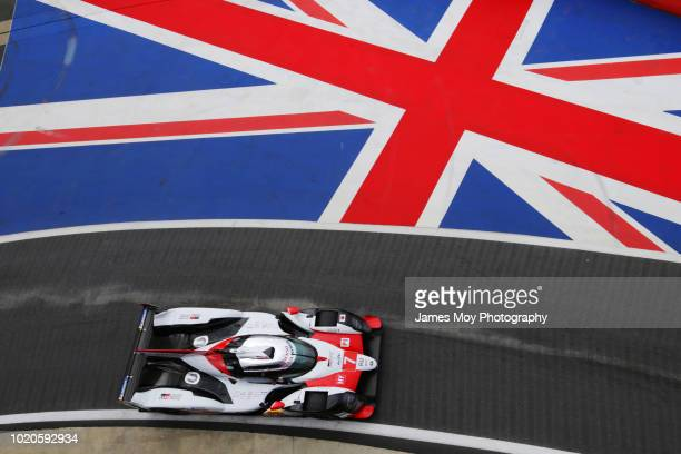 The Toyota TS050 driven by Mike Conway Jose maria Lopez and Kamui Kobayashi at Silverstone Circuit on August 16 2018 in Northampton England