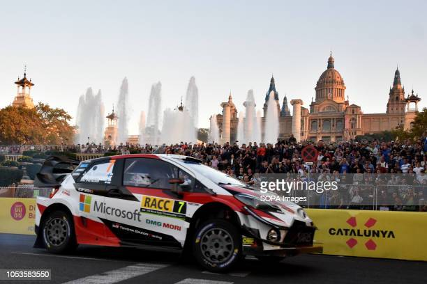 The Toyota Yaris WRC of the pilots JariMatti Latvala and Miikka Anttila seen at the asphalt stage in Barcelona during the RACC Catalunya Costa...