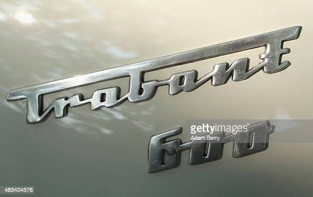 The Trabant logo is seen on a Trabant automobile at a Trabant enthusiasts' weekend on August 8 2015 near Nossen Germany The Trabant also called the...