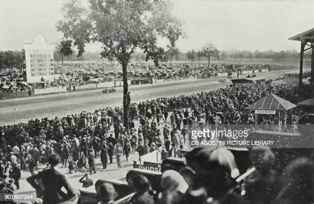 The track and the positions board European Grand Prix in Monza Italy September 9 from L'Illustrazione Italiana Year L No 37 September 16 1923