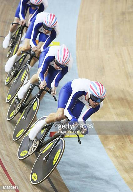 The track cycling team of Great Britain competes in the 2008 Beijing Olympic Games men's team pursuit first round at the Laoshan Velodrome in Beijing...