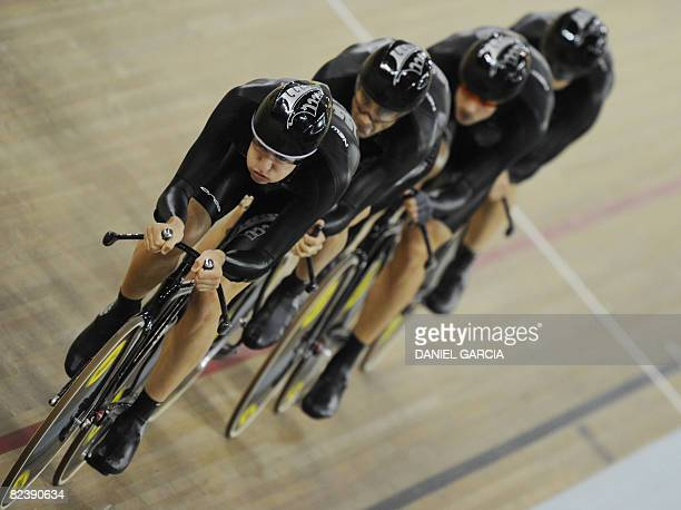 The track cycling team of New Zealand competes in the 2008 Beijing Olympic Games men's team pursuit first round at the Laoshan Velodrome in Beijing...