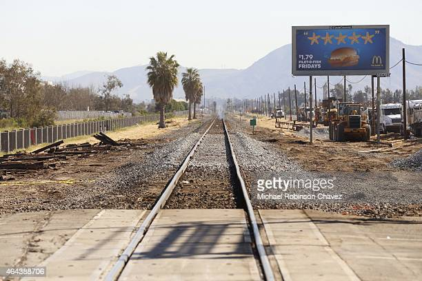 OXNARD CA FEBRUARY 125 2015 The track in Oxnard at Rice Avenue has been repaired Wednesday February 25 one day after a metrolink train collided with...