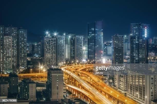 the track of the city nightview - kunming stock-fotos und bilder