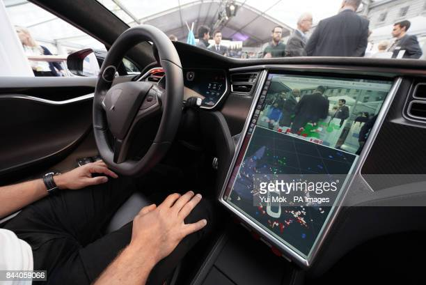The tracking information displayed on a console in a Bosch development vehicle driverless car during the Bosch transforMOTION mobility event at...