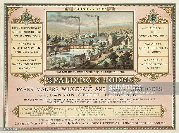 The trade advertisement of Spalding Hodge features an illustration of their Horton Kirby works in Kent
