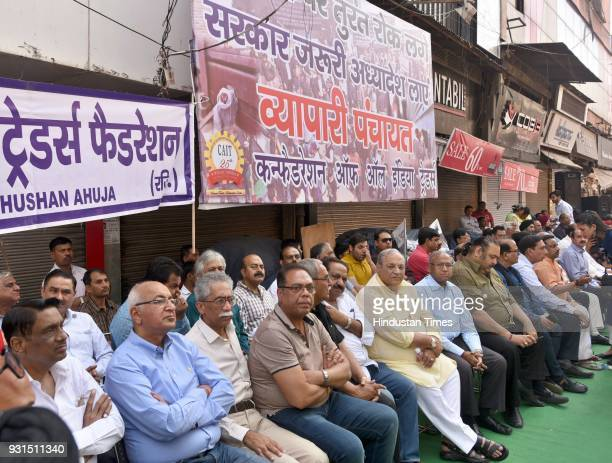 The traders from all over Delhi gathered to protest against the sealing drive by the government in Karol Bagh on March 13 2018 in New Delhi India The...