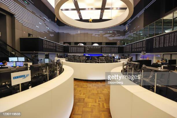 The trading floor in the Frankfurt Stock Exchange, operated by Deutsche Boerse AG, in Frankfurt, Germany, on Monday, Dec. 14, 2020. The topsy turvy...