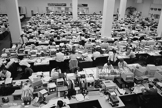 The trading floor of American stock brokerage firm Dean Witter at 2 World Trade Center New York City February 1992