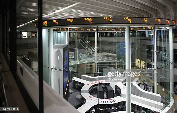 The trading pit is seen after the market close at the Tokyo Stock Exchange in Tokyo Japan on Thursday July 5 2012 Japanese regulators approved a...