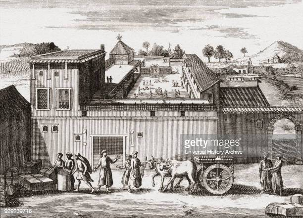 The trading post established by the British East India Company at Surat India c1680 From British Merchant Adventurers published 1942