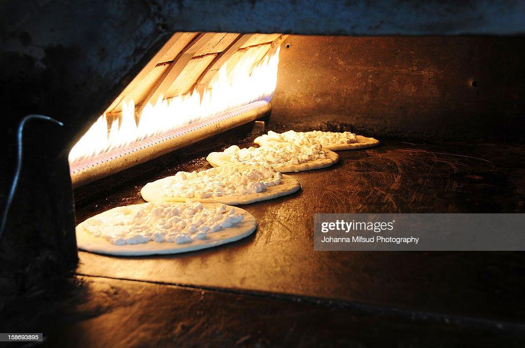 The tradition of Manakish Bread, Lebanon : Stock Photo