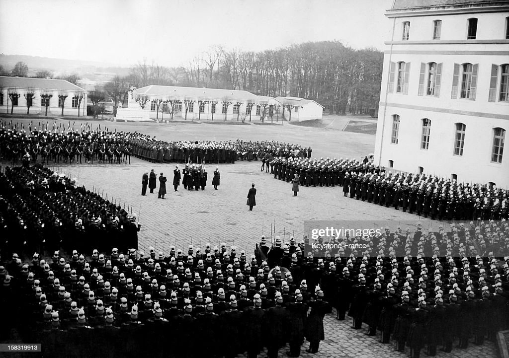 The traditional ceremony of presentation of the flag to the new students, the bazars, of the French military school of Saint-Cyr in Saint-Cyr-l'Ecole, France, during the thirties.