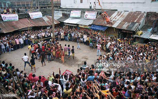 The traditional Chadak Festival on the eve of Bengali new year's day on April 13 2012 in Kolkata India The festival is celebrated in West Bengal and...