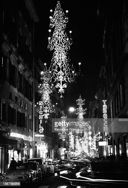 The traditional Christmas illuminations in Via Frattina on December 6, 1963 in Rome, Italy.