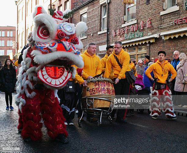 The traditional Lion Dance is performed during the Chinese New Year celebrations to mark The Year of the Rooster on January 29 2017 in Newcastle Upon...